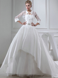 Ball Gown Turn-down Collar Court Train Satin 3/4 Length Sleeve Semi Transparent Wedding Dresses With Jacket