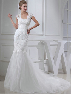 Mermaid Square Court Train Tulle Cap Sleeves Lace Wedding Dresses With Sequin