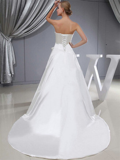 A-line Strapless Brush Train Satin Flower Wedding Dresses