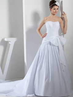 Over Hip Sweetheart Brush Train Satin Bowknot Beading Wedding Dresses