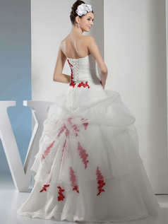 Ball Gown Tube Top Floor-length Organza Appliques Wedding Dresses With Flower