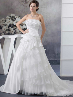 A-line Strapless Brush Train Stretch Satin Flower Wedding Dresses