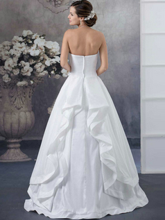 Ball Gown Strapless Floor-length Taffeta Beading Wedding Dresses