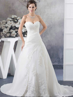A-line Strapless Brush Train Stretch Satin Beading Wedding Dresses