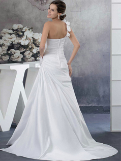 Over Hip One Shoulder Brush Train Satin Side-draped Wedding Dresses
