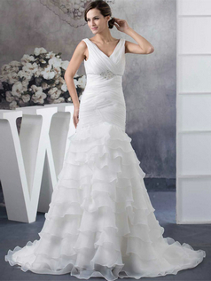 Mermaid V-neck Brush Train Organza Beading Sequin Wedding Dresses