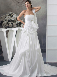A-line Brush Train Taffeta Beading Crystal Wedding Dresses