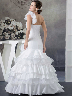 Mermaid One Shoulder Floor-length Organza Flower Wedding Dresses
