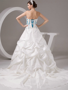 Ball Gown Strapless Court Train Satin Beading Sequin Wedding Dresses