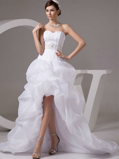 Princess Strapless Brush Train Organza Beading Sequin High Low Wedding Dresses