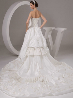 A-line Strapless Court Train Satin Beading Sequin Wedding Dresses