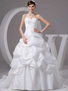 Princess Strapless Brush Train Taffeta Beading Pick-Ups Wedding Dresses