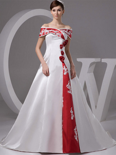A-line Off-the-shoulder Brush Train Satin Beading Sequin Wedding Dresses