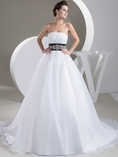 Ball Gown Strapless Brush Train Organza Crystal Sequin Wedding Dresses