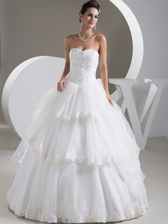 Ball Gown Strapless Floor-length Organza Sequin Crystal Wedding Dresses