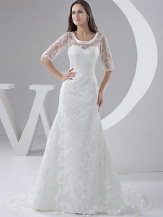 Mermaid Scoop Brush Train Bowknot Half Sleeve Lace Wedding Dresses