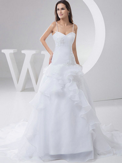 A-line Spaghetti Straps Brush Train Organza Beading Wedding Dresses