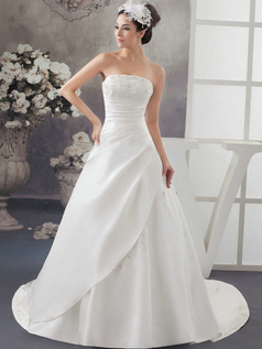 A-line Strapless Court Train Satin Crystal Sequin Wedding Dresses