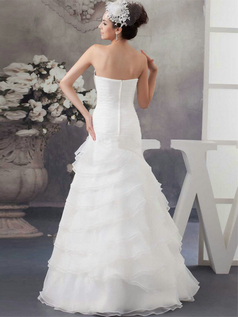 Over Hip Strapless Floor-length Organza Flower Wedding Dresses