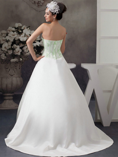 Ball Gown Strapless Brush Train Satin Beading Wedding Dresses