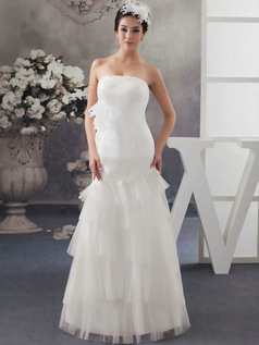 Mermaid Strapless Floor-length Tulle Beading Sequin Wedding Dresses