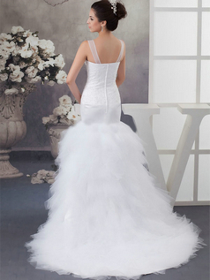 Mermaid Straps Brush Train Tulle Beading Sequin Wedding Dresses
