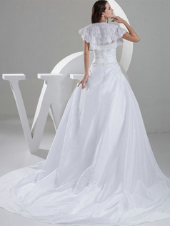 A-line Sweetheart Court Train Taffeta Short Sleeve Sequin Wedding Dresses With Lace Jacket