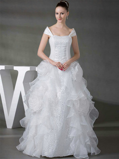 Princess Off-the-shoulder Floor-length Organza Ruffle Wedding Dresses