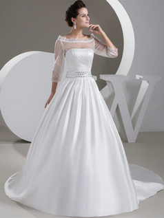 A-line Off-the-shoulder Sweep Satin 3/4 Length Sleeve Crystal Wedding Dresses With Semi Transparent