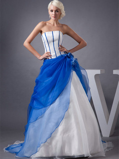 A-line Tube Top Brush Train Organza Flower Wedding Dresses