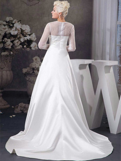 A-line Bateau Sweep Satin Long Sleeve Wedding Dresses With Semi Transparent