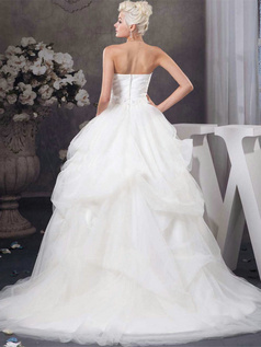 Ball Gown Sweetheart Sweep Tulle Flower Crystal Wedding Dresses