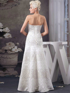 Over Hip Tube Top Floor-length Satin Beading Sequin Wedding Dresses