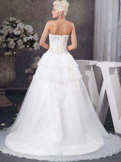 A-line Tube Top Sweep Organza Sequin Embroidery Wedding Dresses