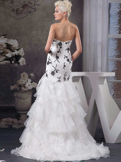 Over Hip Sweetheart Sweep Organza Split Front Ruffle Wedding Dresses