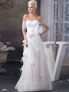 A-line Sweetheart Floor-length Organza Flower Sashes Wedding Dresses