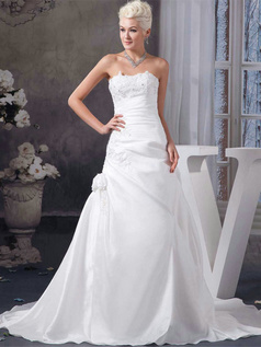 Over Hip Strapless Sweep Taffeta Beading Flower Wedding Dresses