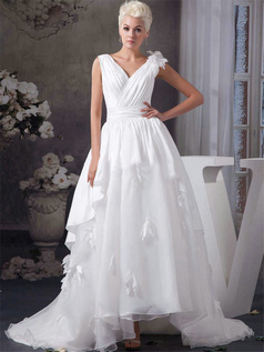 Ball Gown V-neck Straps Sweep Organza Flower Wedding Dresses