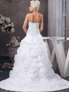 Princess Sweetheart Sweep Organza Crystal Pick-Ups Wedding Dresses