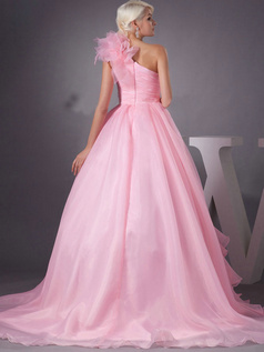 Princess One Shoulder Brush Train Organza Ruffle Wedding Dresses