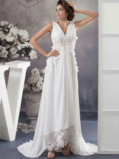 Column V-neck Straps Sweep Chiffon Flower Draped Wedding Dresses