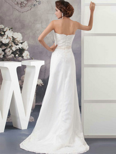 A-line Scalloped-edge Sweep Satin Crystal Sequin Wedding Dresses