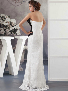 Column Sweetheart Strapless Floor-length Lace Wedding Dresses