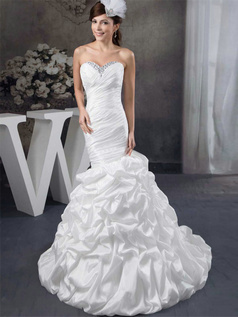 Mermaid Sweetheart Court Train Taffeta Pick-Ups Wedding Dresses