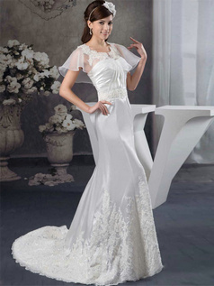Mermaid Scalloped-edge Sweep Stretch Satin Short Sleeve Semi Transparent Beading Wedding Dresses With Jacket