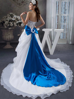 A-line Tube Top Court Train Organza Bowknot Wedding Dresses With Semi Transparent