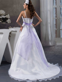 A-line Straps Sweep Organza Beading Sequin Wedding Dresses With Semi Transparent
