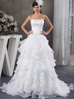 Princess Sweetheart Sweep Organza Crystal Ruffle Wedding Dresses