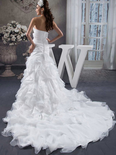 Over Hip Sweetheart Sweep Organza Flower Ruffle Wedding Dresses