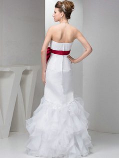 Mermaid Tube Top Floor-length Organza Bowknot Ruffle Wedding Dresses